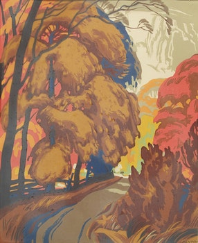 Artwork by Lawrence Arthur Colley Panton, Roadway in Fall