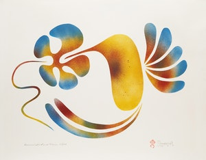 Artwork by Simon Brascoupe, Hummingbird and Flower