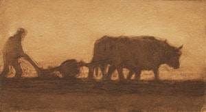 Artwork by Clarence Alphonse Gagnon, Oxen Ploughing