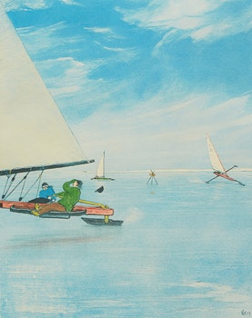 Artwork by William Kurelek, Ice Sailing