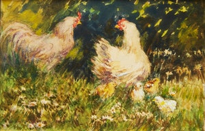 Artwork by Elizabeth Annie McGillivray Knowles, Roosters with Chicks; Roosters and Chickens in the Yard