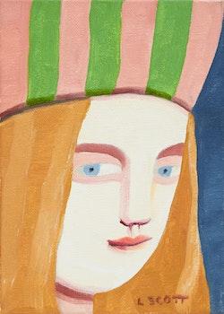 Artwork by Louise Scott, Woman in Multi-Coloured Hat