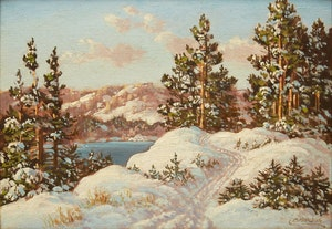 Artwork by Otto Planding, Winter Lake Landscape