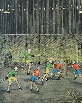 Artwork by William Kurelek, Lacrosse