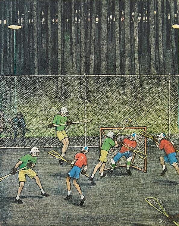Artwork by William Kurelek,  Lacrosse