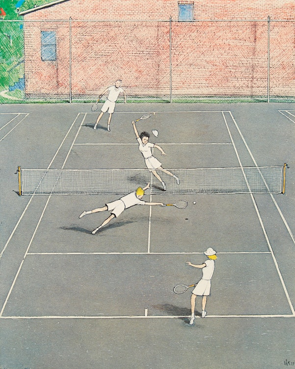 Artwork by William Kurelek,  Tennis