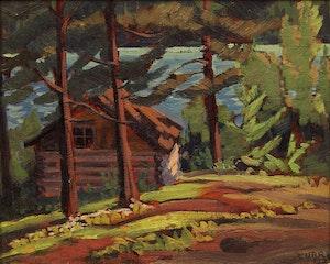 Artwork by Ethel Luella Curry, Log Cabin