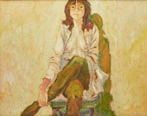 Artwork by Robert Francis Michael McInnis, Girl in Green Stockings