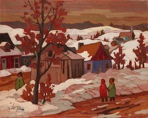 Artwork by Claude Langevin, Première bordée de neige, Laurentides
