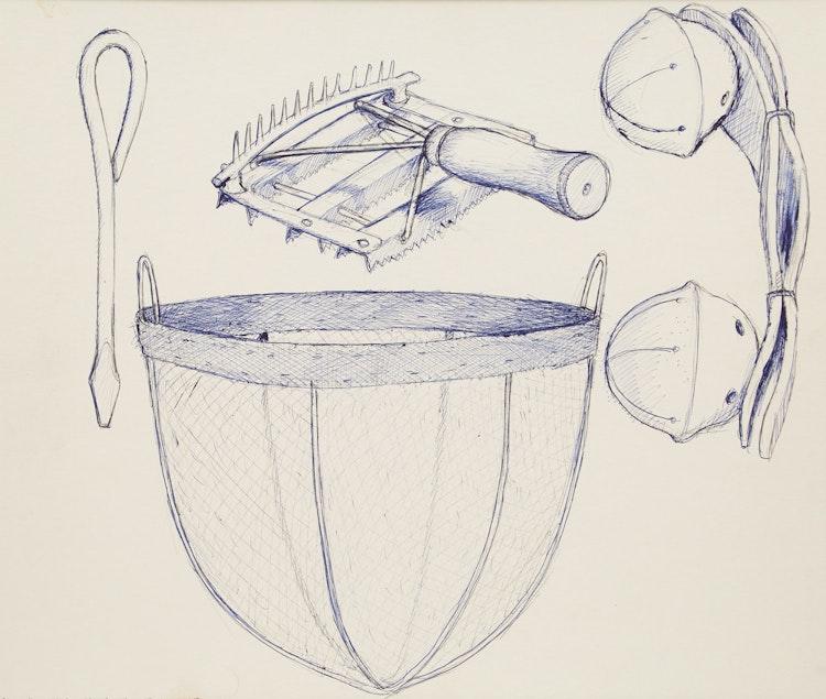 Artwork by William Kurelek,  Homemade Screwdriver and Horse Equipment