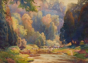 Artwork by Frederick Henry Brigden, Horses Watering, Don Valley