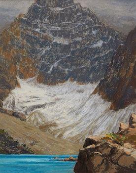 Artwork by Horace Champagne, Mount Biddle in September, with Lake McArthur -- Yoho National Park, B.C.