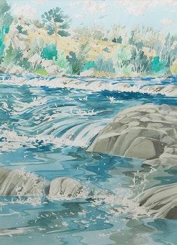 Artwork by Edward W. (Ted) Godwin, Step Pools Near Lundbreck