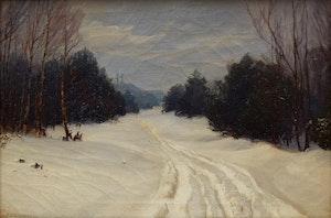 Artwork by Frederick Henry Brigden, Forest Path in Winter