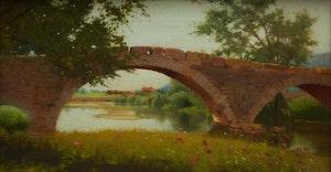 Artwork by Mary Heister Reid, Landscape with Bridge