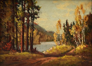 Artwork by Otto Planding, Road by the River; River Landscape