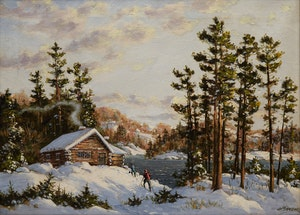 Artwork by Otto Planding, Winter Landscape with Cabin