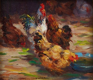 Artwork by Elizabeth Annie McGillivray Knowles, Rooster with Three Hens; Rooster with Two Hens Feeding