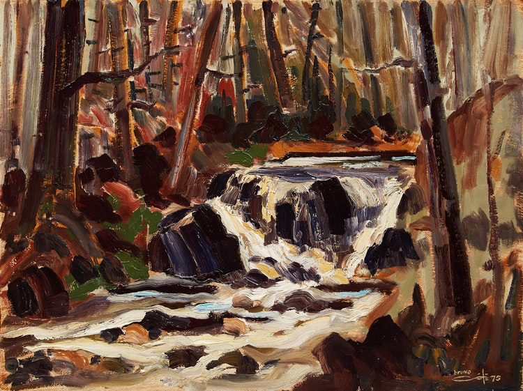 Artwork by Bruno Côté,  Rushing Stream in Forest