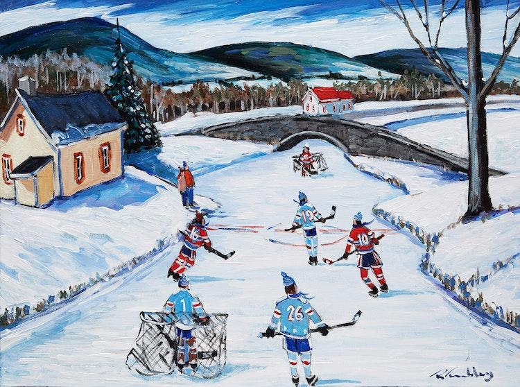 """Artwork by Roland Tremblay,  La """"game"""" sur le lac"""