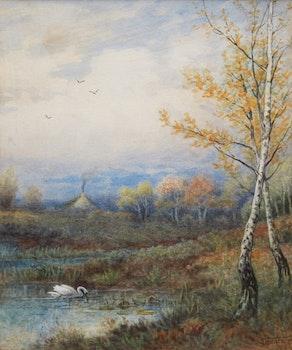 Artwork by Frederick Arthur Verner, Landscape with Swans
