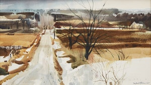 Artwork by Donald Mackay Houstoun, Snow Patches, Country Road, Elora
