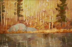 Artwork by Thomas Keith Roberts, Spring Birches by the Pond