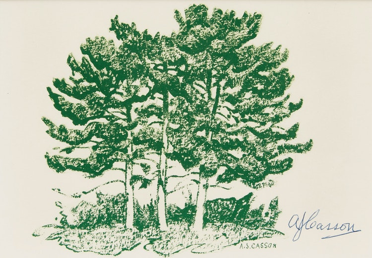 "Artwork by Alfred Joseph Casson,  ""Three Pines"""