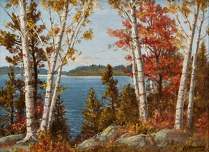 Artwork by Otto Planding, Bold Muskoka; Birch Trees, Lake Muskoka; Lake of Bays, Muskoka