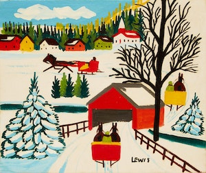 Artwork by Maud Lewis, Winter Landscape with Covered Bridge and Three Sleighs