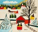 Thumbnail of Artwork by Maud Lewis,  Winter Landscape with Covered Bridge and Three Sleighs