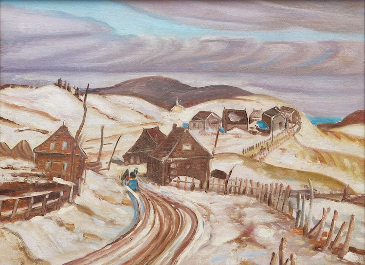 Artwork by Ralph Wallace Burton,  Winter Road, Quebec