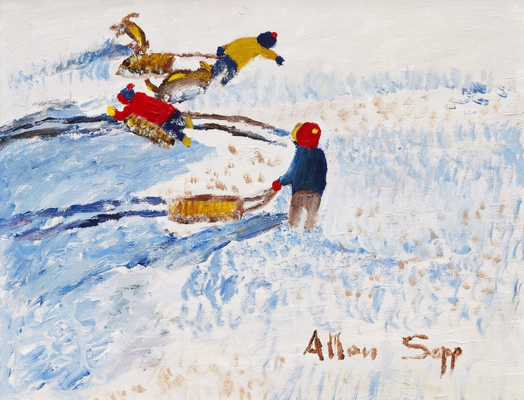Artwork by Allen Sapp,  Untitled (Playing in the Snow)