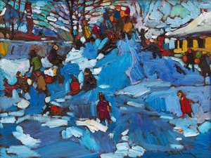 Artwork by Arthur Shilling, Kids on a Snowbank