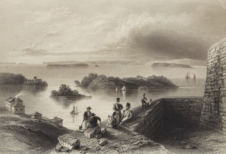 Artwork by William Henry Bartlett,  View from the Citadel at Kingston