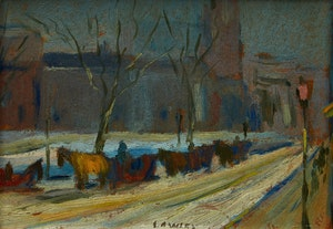 Artwork by John Douglas Lawley, Cab Stand in Winter