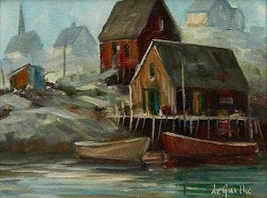 Artwork by William Edward de Garthe, Harbour Scene with Docked Boats