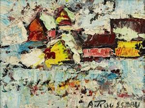 Artwork by Albert Rousseau, Winter Village