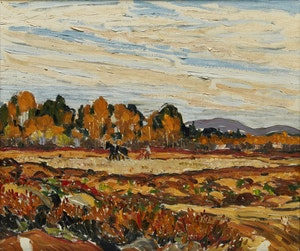 Artwork by Randolph Stanley Hewton, Autumn Ploughing Landscape