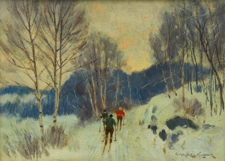 Artwork by Andrew Wilkie Kilgour,  Cross Country Skiiers