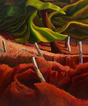 Artwork by Drew Burnham, Fence Line Pines
