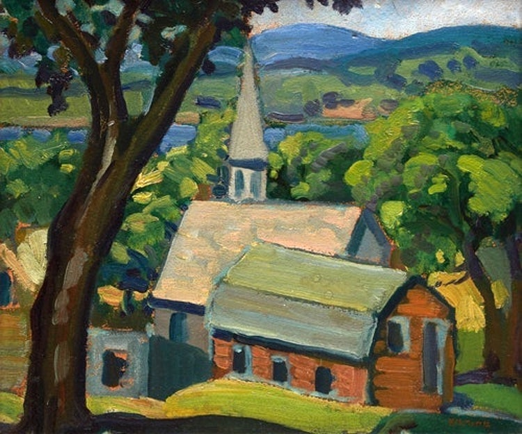 """Artwork by  Canadian School, signed """"K.M. Morris"""",  Country Church"""