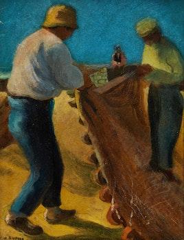 Artwork by Charles Walter Simpson, Fishermen