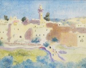 Artwork by Randolph Stanley Hewton, Morocco; European Village