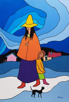 Artwork by Ted Harrison, Girl in Yellow Hat