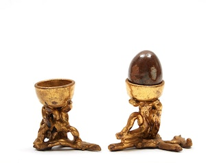 Artwork by Gathie Falk, Two Egg Cups with Single Egg