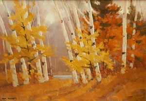Artwork by Thomas Keith Roberts, Birch Woods in Late October