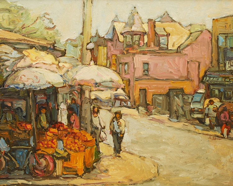 Artwork by Donald Besco,  Summer in Kensington Market