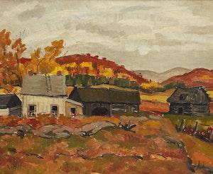 Artwork by Randolph Stanley Hewton, Farm in Autumn