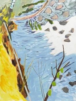Artwork by Barbara Ballachey, Creek with New Ice